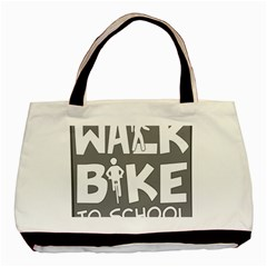 Bicycle Walk Bike School Sign Grey Basic Tote Bag (Two Sides)
