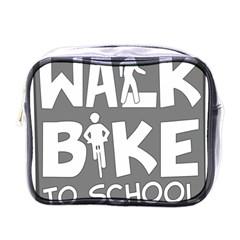 Bicycle Walk Bike School Sign Grey Mini Toiletries Bags