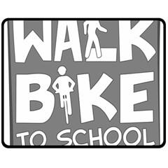 Bicycle Walk Bike School Sign Grey Double Sided Fleece Blanket (Medium)