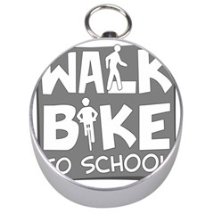 Bicycle Walk Bike School Sign Grey Silver Compasses