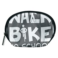 Bicycle Walk Bike School Sign Grey Accessory Pouches (Medium)