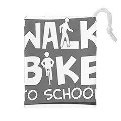 Bicycle Walk Bike School Sign Grey Drawstring Pouches (Extra Large)