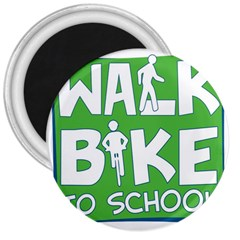Bicycle Walk Bike School Sign Green Blue 3  Magnets