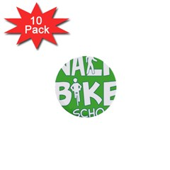 Bicycle Walk Bike School Sign Green Blue 1  Mini Buttons (10 Pack)