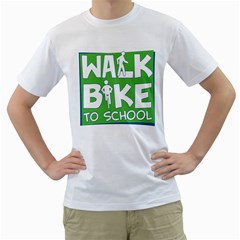 Bicycle Walk Bike School Sign Green Blue Men s T Shirt (white) (two Sided)
