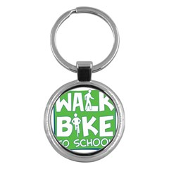 Bicycle Walk Bike School Sign Green Blue Key Chains (Round)