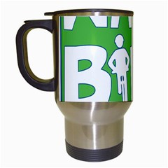 Bicycle Walk Bike School Sign Green Blue Travel Mugs (white)
