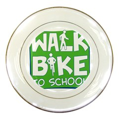 Bicycle Walk Bike School Sign Green Blue Porcelain Plates