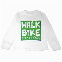 Bicycle Walk Bike School Sign Green Blue Kids Long Sleeve T-Shirts