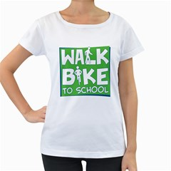 Bicycle Walk Bike School Sign Green Blue Women s Loose Fit T Shirt (white)
