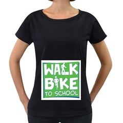 Bicycle Walk Bike School Sign Green Blue Women s Loose-Fit T-Shirt (Black)
