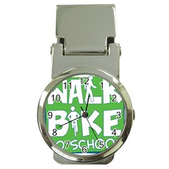 Bicycle Walk Bike School Sign Green Blue Money Clip Watches