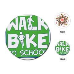 Bicycle Walk Bike School Sign Green Blue Playing Cards (Round)