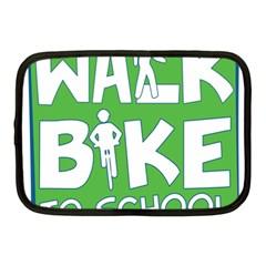 Bicycle Walk Bike School Sign Green Blue Netbook Case (Medium)