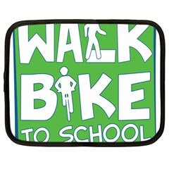 Bicycle Walk Bike School Sign Green Blue Netbook Case (Large)