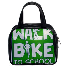 Bicycle Walk Bike School Sign Green Blue Classic Handbags (2 Sides)