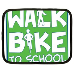 Bicycle Walk Bike School Sign Green Blue Netbook Case (XL)