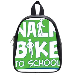 Bicycle Walk Bike School Sign Green Blue School Bags (Small)