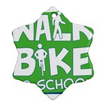 Bicycle Walk Bike School Sign Green Blue Ornament (Snowflake) Front
