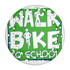 Bicycle Walk Bike School Sign Green Blue Round Filigree Ornament (Two Sides)