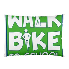 Bicycle Walk Bike School Sign Green Blue Pillow Case (Two Sides)