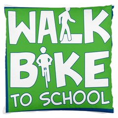 Bicycle Walk Bike School Sign Green Blue Large Cushion Case (One Side)