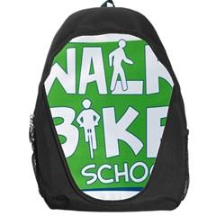 Bicycle Walk Bike School Sign Green Blue Backpack Bag