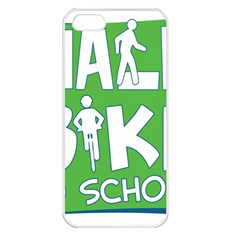 Bicycle Walk Bike School Sign Green Blue Apple iPhone 5 Seamless Case (White)
