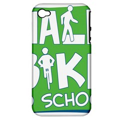 Bicycle Walk Bike School Sign Green Blue Apple iPhone 4/4S Hardshell Case (PC+Silicone)