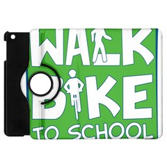 Bicycle Walk Bike School Sign Green Blue Apple iPad Mini Flip 360 Case