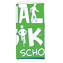 Bicycle Walk Bike School Sign Green Blue Apple iPhone 5 Hardshell Case with Stand