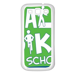 Bicycle Walk Bike School Sign Green Blue Samsung Galaxy S3 Back Case (White)