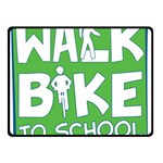 Bicycle Walk Bike School Sign Green Blue Double Sided Fleece Blanket (Small)  50 x40 Blanket Front