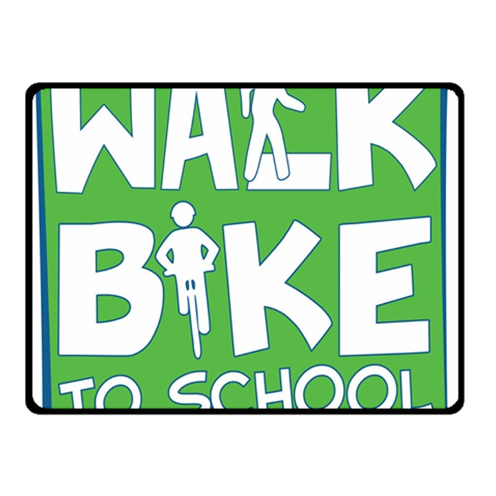 Bicycle Walk Bike School Sign Green Blue Double Sided Fleece Blanket (Small)