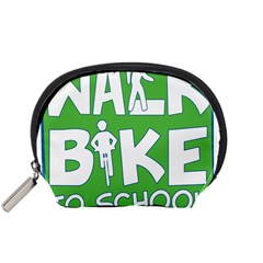 Bicycle Walk Bike School Sign Green Blue Accessory Pouches (Small)