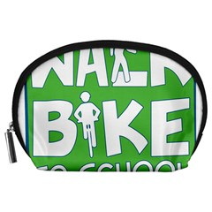 Bicycle Walk Bike School Sign Green Blue Accessory Pouches (Large)