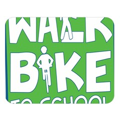 Bicycle Walk Bike School Sign Green Blue Double Sided Flano Blanket (Large)