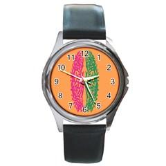 Brian Pink Green Orange Smart Round Metal Watch