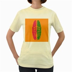 Brian Pink Green Orange Smart Women s Yellow T-Shirt