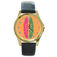 Brian Pink Green Orange Smart Round Gold Metal Watch