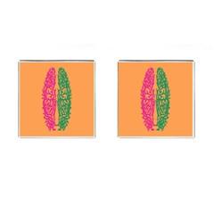 Brian Pink Green Orange Smart Cufflinks (square)