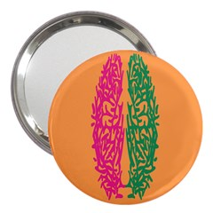 Brian Pink Green Orange Smart 3  Handbag Mirrors