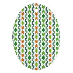 Chevron Wave Green Orange Ornament (Oval)