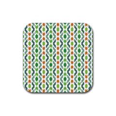 Chevron Wave Green Orange Rubber Coaster (Square)
