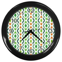 Chevron Wave Green Orange Wall Clocks (black)