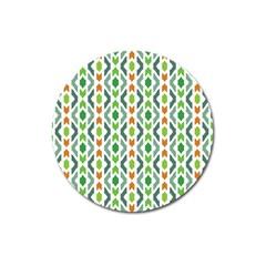 Chevron Wave Green Orange Magnet 3  (Round)
