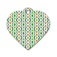 Chevron Wave Green Orange Dog Tag Heart (Two Sides)