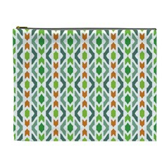 Chevron Wave Green Orange Cosmetic Bag (XL)