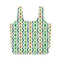 Chevron Wave Green Orange Full Print Recycle Bags (M)