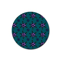 Blue Purple Floral Flower Sunflower Frame Rubber Round Coaster (4 pack)